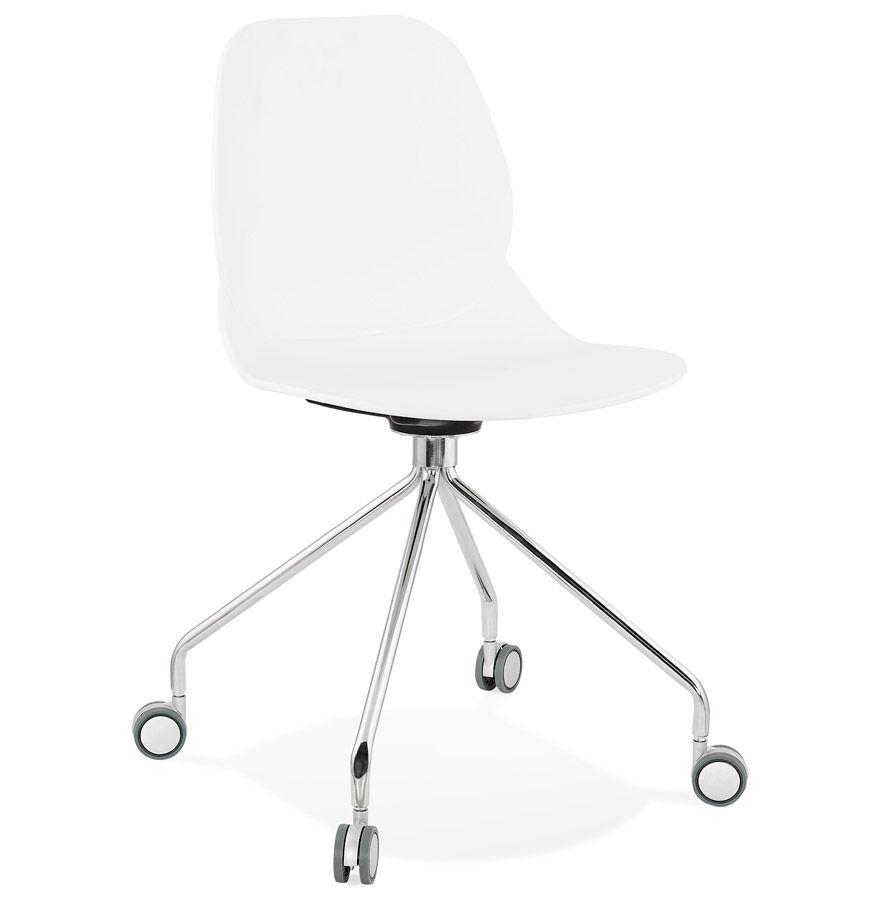 Alterego Chaise de bureau moderne 'RALLY' blanche sur roulettes