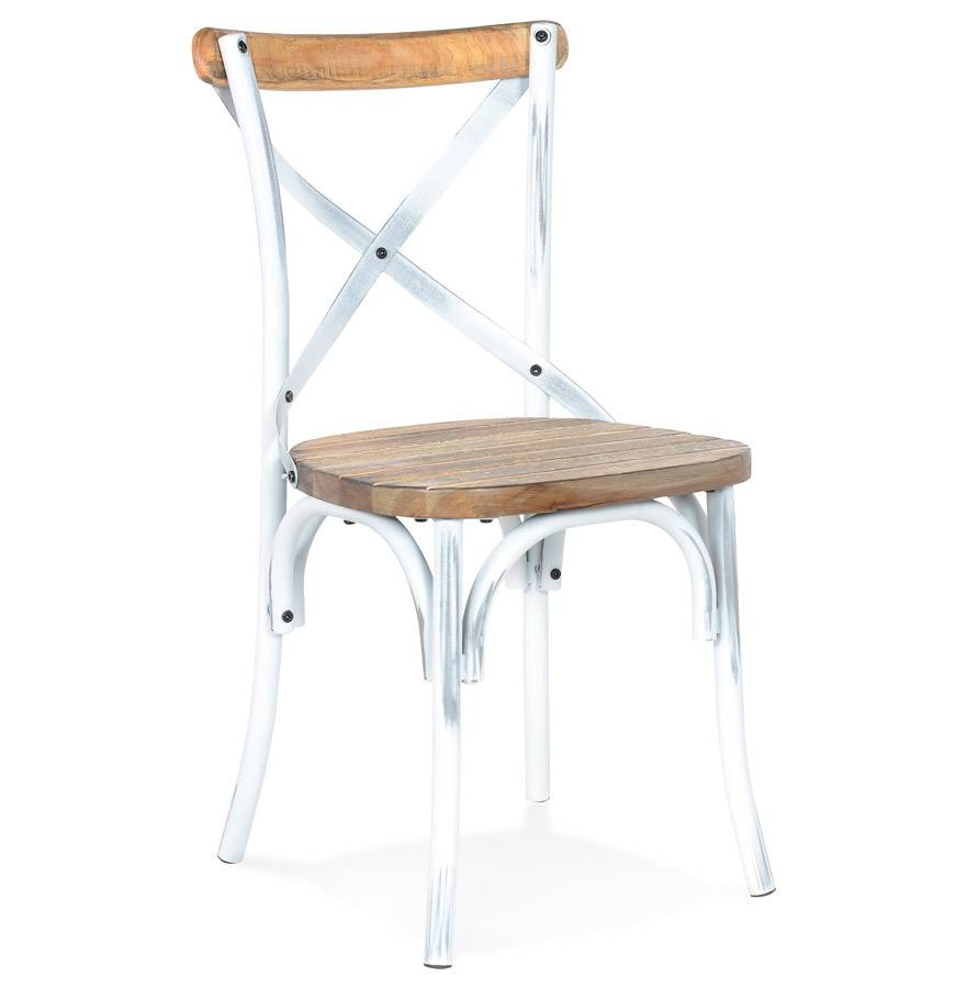 Alterego Chaise de cuisine 'RANCH' en bois finition Noyer effet vieil