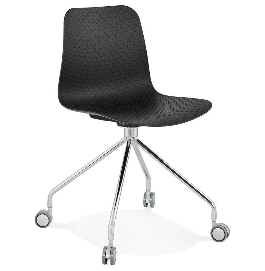 Alterego Chaise design de bureau 'SLIK' noire sur roulettes