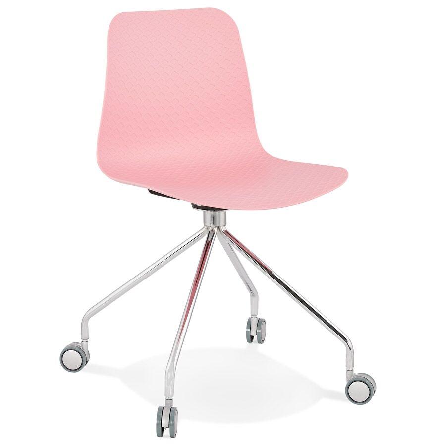 Alterego Chaise design de bureau 'SLIK' rose sur roulettes
