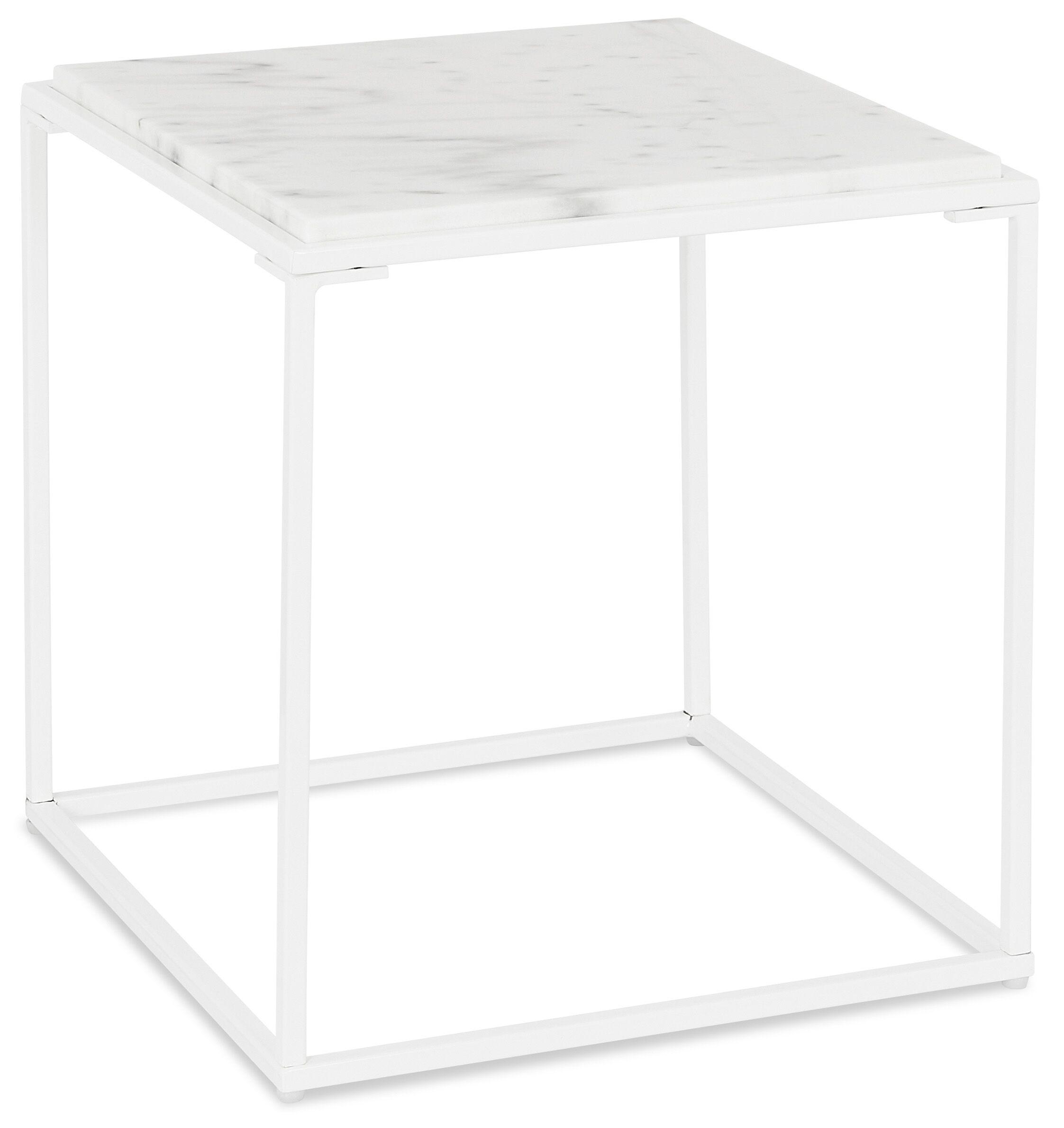 Alterego Table basse d'appoint 'SPIN MINI' blanche en pierre marbrée