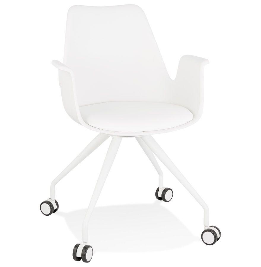 Alterego Chaise de bureau avec accoudoirs 'SPLIT' blanche sur roulett