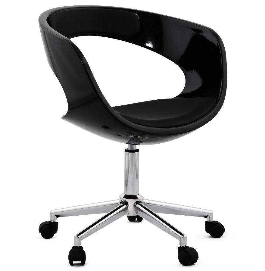 Alterego Chaise de bureau 'STRATO' noire sur roulettes
