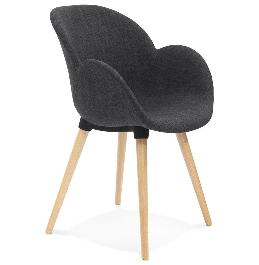Alterego Chaise design scandinave 'TAPIOCA' en tissu gris foncé