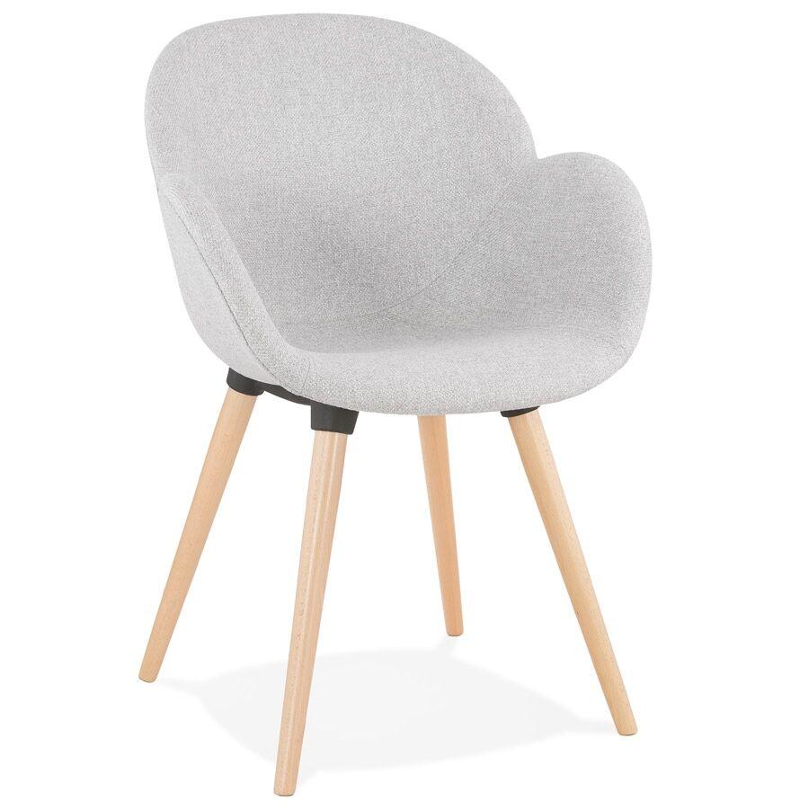 Alterego Chaise design scandinave 'TAPIOCA' en tissu gris clair