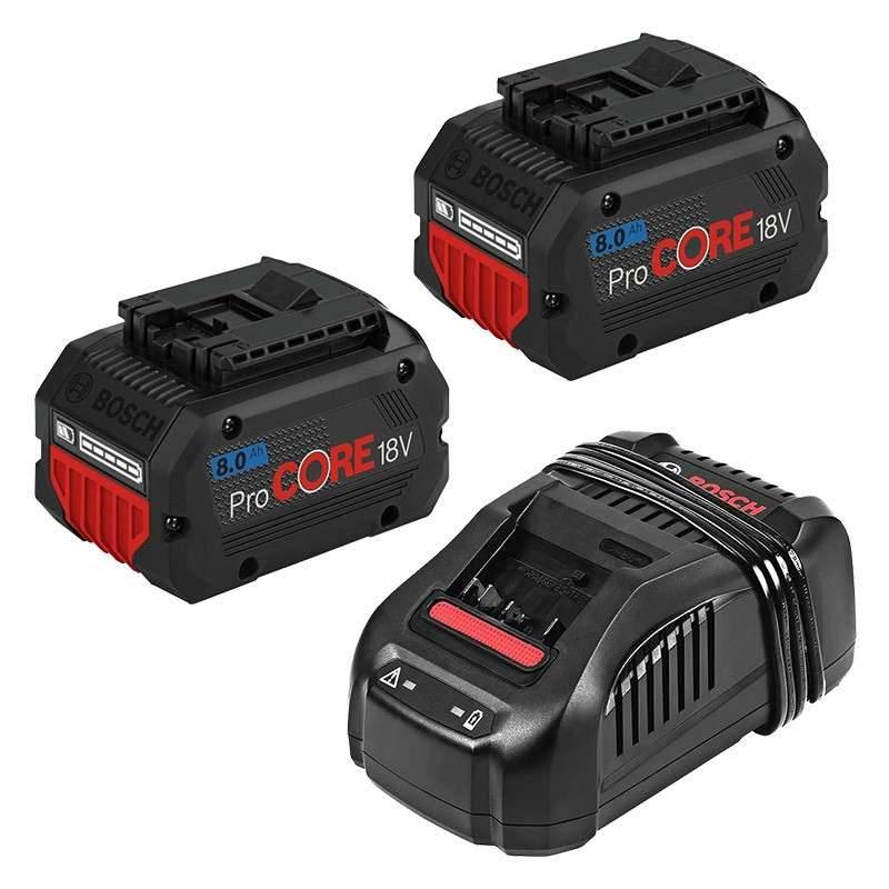 BOSCH PRO Kit 2 batteries BOSCH ProCORE18V 8.0Ah Professional + 1 chargeur BOSCH GAL 1880 CV Professional