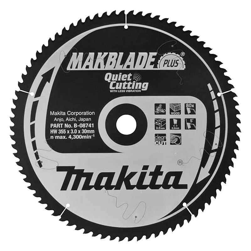 MAKITA Lame Carbure Bois MAKITA MakForce B-08741 355 mm Scie Circulaire 80 Dents