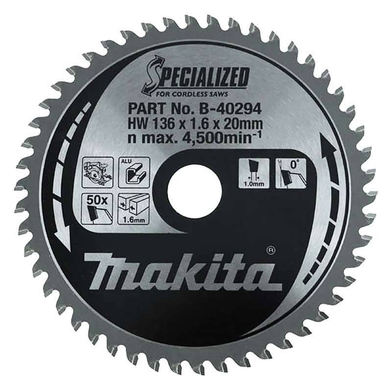 MAKITA Lame de scie circulaire SPECIALIZED MAKITA B-40294 ALUMINIUM Ø 136mm