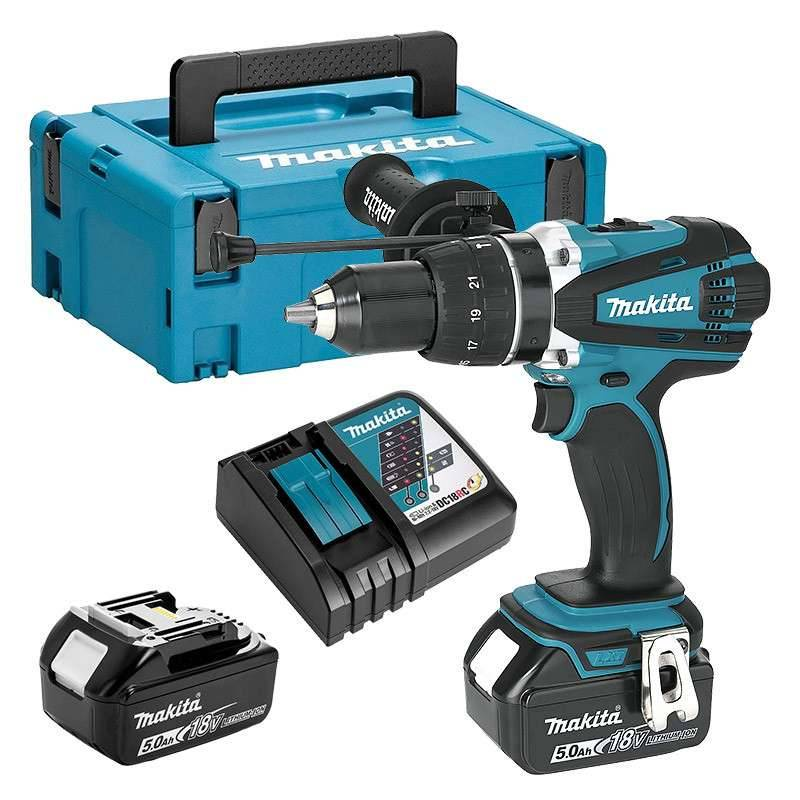 MAKITA Perceuse Visseuse à Percussion MAKITA DHP458RTJ 18 V Li-ion 2 x 5.0 Ah