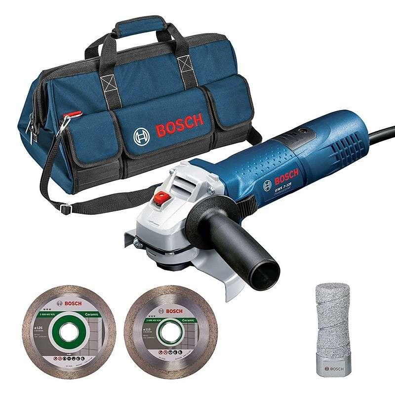 BOSCH PRO Pack spécial meuleuse GWS 7-125 + 2 disques diamant + 1 sac de transport BOSCH PRO 06159975H2