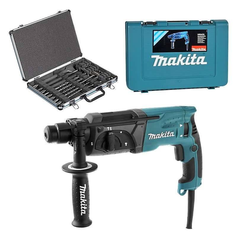 MAKITA Perforateur burineur MAKITA HR2470 SDS-Plus 780W + Coffret 17 pièces D-42444