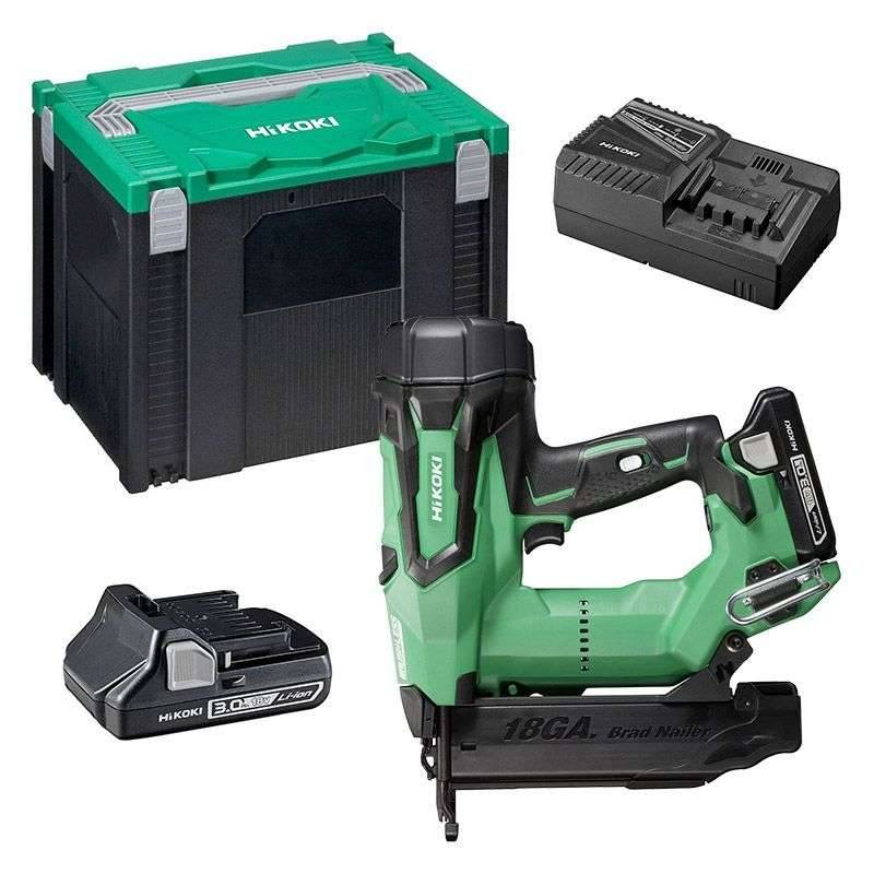 HITACHI - HIKOKI Cloueur sans fil HITACHI - HIKOKI NT1850DBSL(WX) 18V (2x3Ah) /18GA / 16-50mm + Coffret Hit-Case