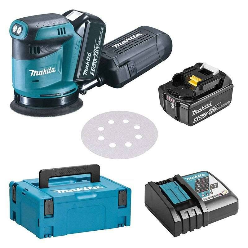 MAKITA Ponceuse Excentrique MAKITA DBO180RTJ 125 mm à Batteries LXT 18 V (2 x 5,0 Ah)