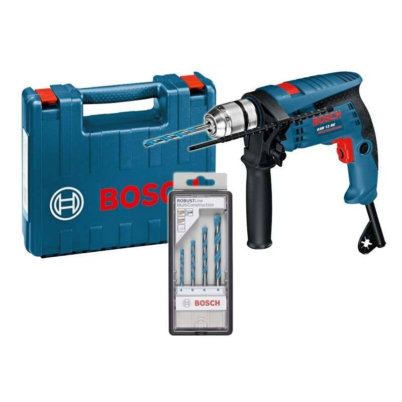 BOSCH PRO Perceuse à Percussion BOSCH GSB 13 RE Professional 600 W + Set de 4 Forets