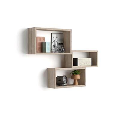 Mobili Fiver Lot de 3 cubes muraux rectangulaires, Giuditta, Chêne
