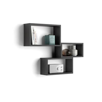 Mobili Fiver Lot de 3 cubes muraux rectangulaires, Giuditta, Frêne Noir