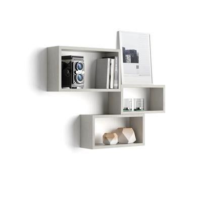 Mobili Fiver Lot de 3 cubes muraux rectangulaires, Giuditta, Gris Béton