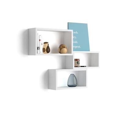 Mobili Fiver Lot de 3 cubes muraux rectangulaires, Giuditta, Frêne Blanc
