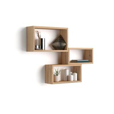 Mobili Fiver Lot de 3 cubes muraux rectangulaires, Giuditta, Bois Rustique