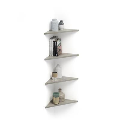 Mobili Fiver Set de 4 étagères d'angle Easy, gris Béton