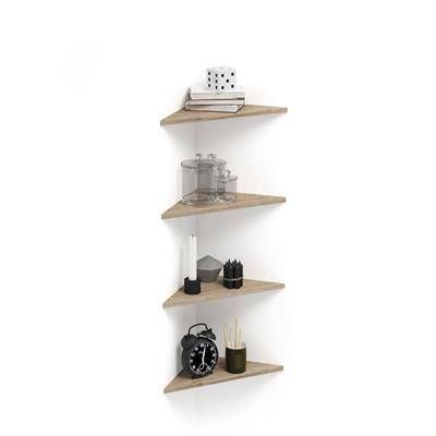 Mobili Fiver Set de 4 étagères d'angle Easy, Chêne