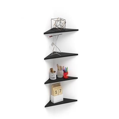 Mobili Fiver Set de 4 étagères d'angle Easy, Frêne Noir