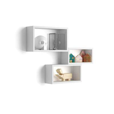 Mobili Fiver Lot de 3 cubes muraux rectangulaires, Giuditta, Blanc Mat
