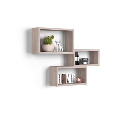 Mobili Fiver Lot de 3 cubes muraux rectangulaires, Giuditta, Orme Perle