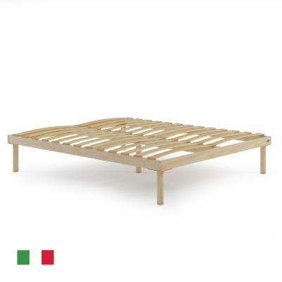 Mobili Fiver Sommier à lattes en bois grand lit français, 140x190, Hauteur totale 26 cm