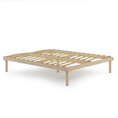 Mobili Fiver Sommier à lattes en bois grand lit français, 140x190, Hauteur totale 31 cm