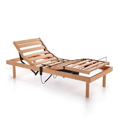 Mobili Fiver Sommier lit une place et demie à lattes de bois, motorisé 120x200 31h