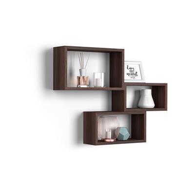 Mobili Fiver Lot de 3 cubes muraux rectangulaires, Giuditta, Wengé