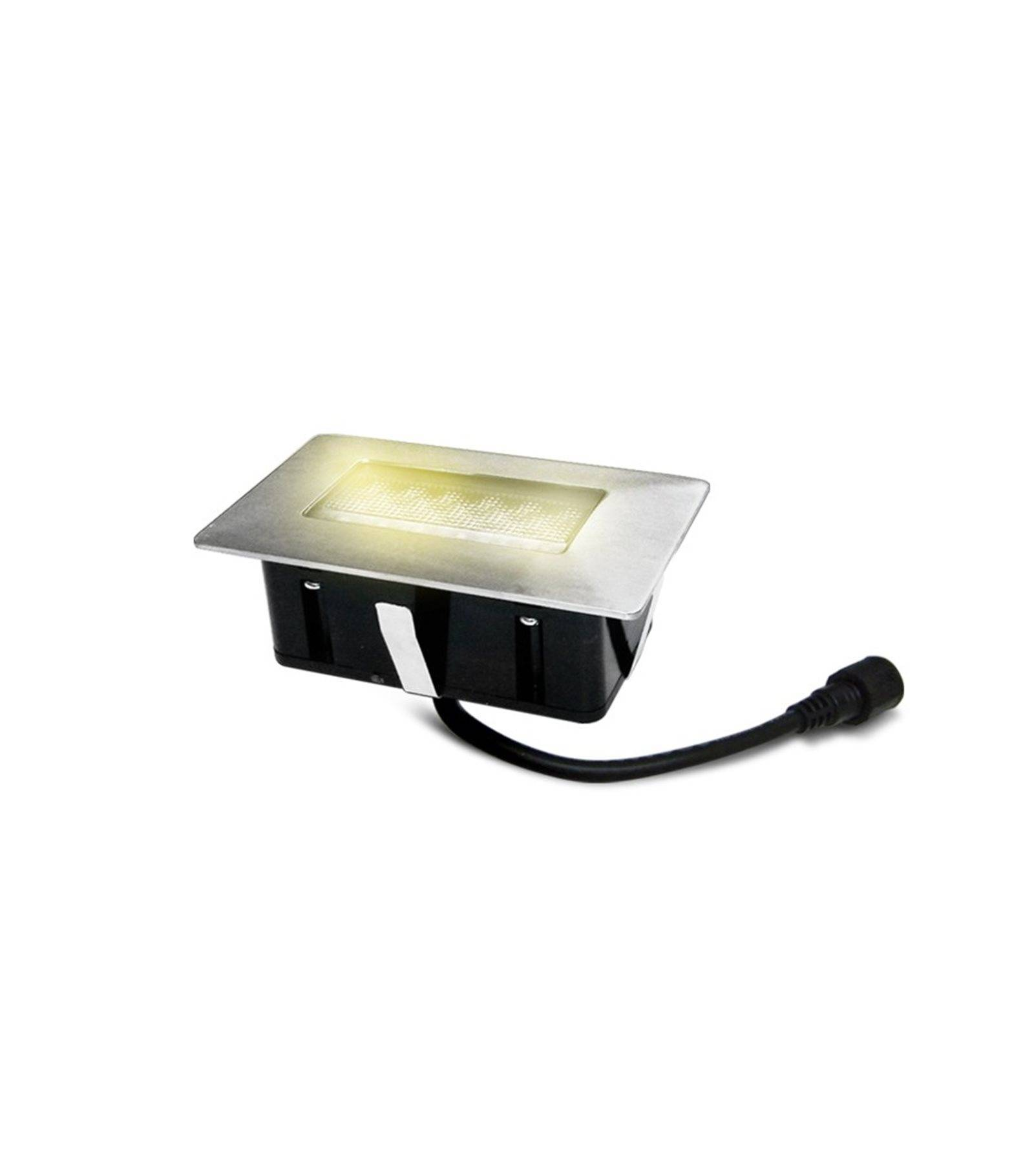 Easy Connect Mini Spot encastrable rectangle 6x10cm Inox Mini DECK Light 2W LED integrés IP67 Blanc Chaud extérieur EASY CONNECT - 65446