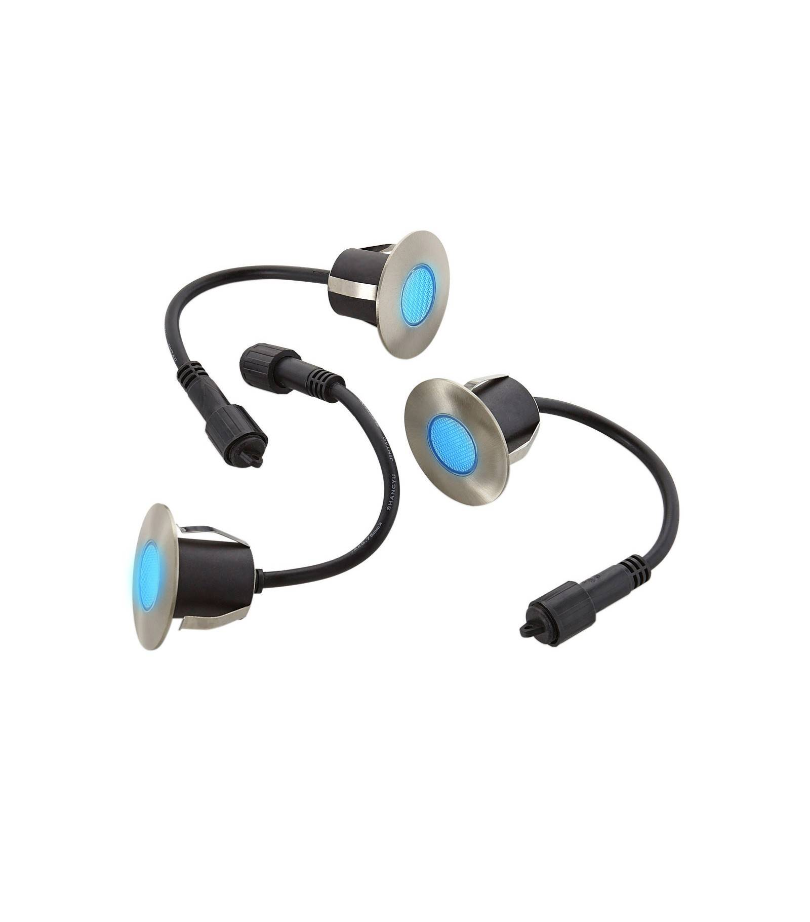 Easy Connect Lot 3 Mini Spot encastrable rond 6cm Inox Mini DECK Light 1.2W par spotW LED integrés IP67 Bleu extérieur EASY CONNECT - 654
