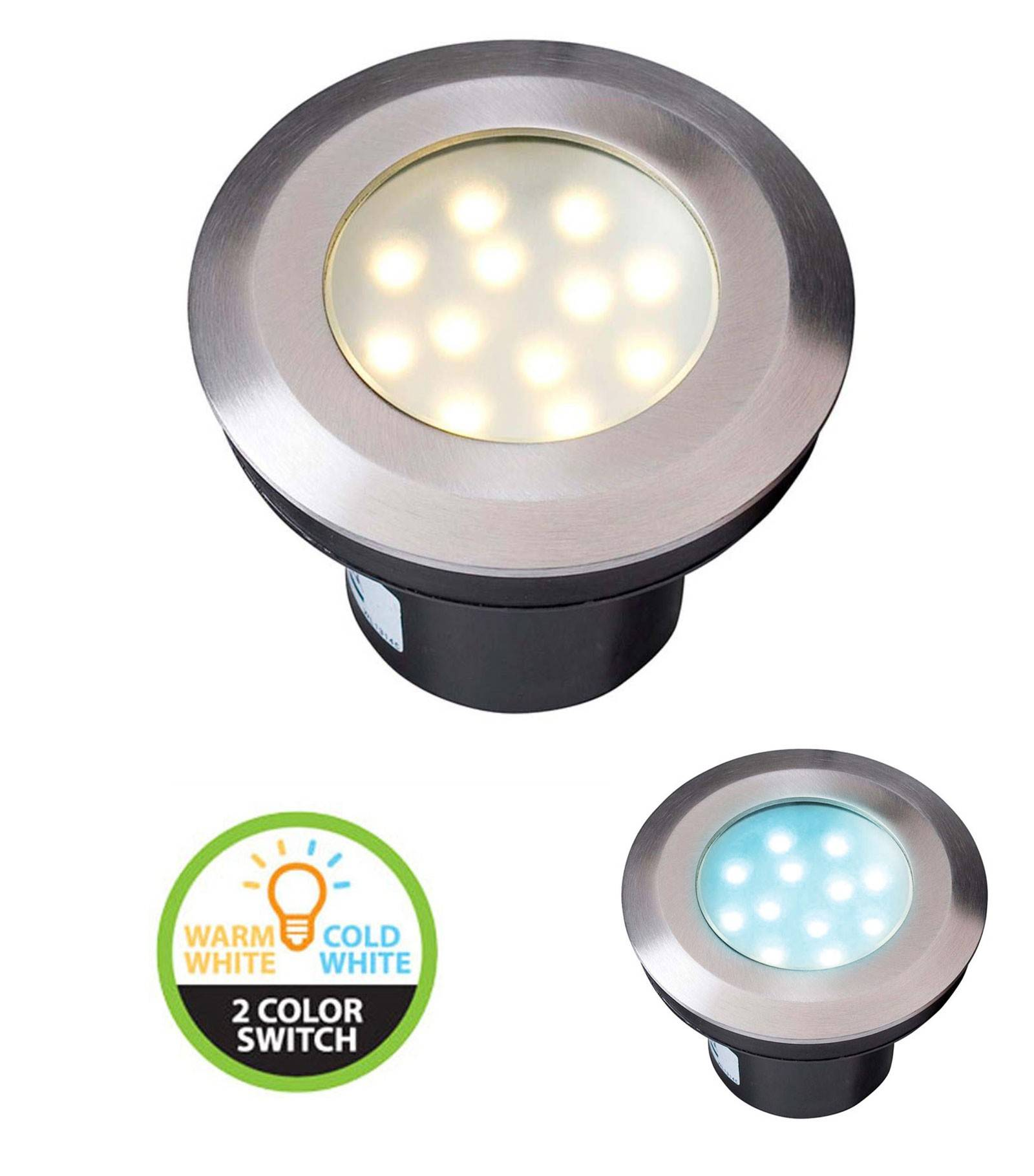 Garden Lights Spot encastrable GAVIA 2W PLATINE LED IP67 Blanc Chaud & blanc froid 3000-6000K Garden lights ampoule fournie - GL4134601