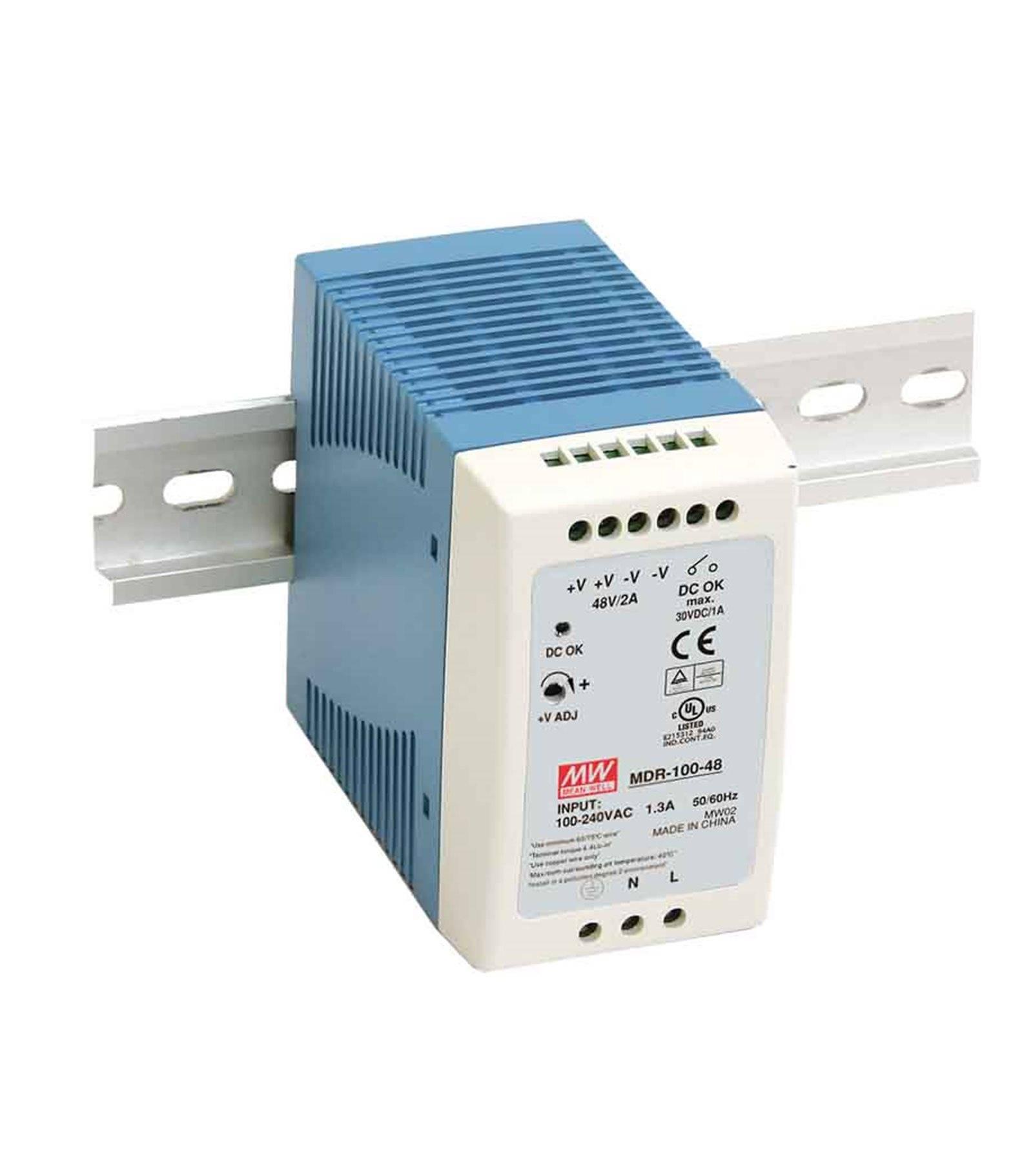 Mean Well Transformateur pour rail DIN armoire électrique 100Wà 12V DC MDR-100-12 MEAN WELL - MDR-100-12
