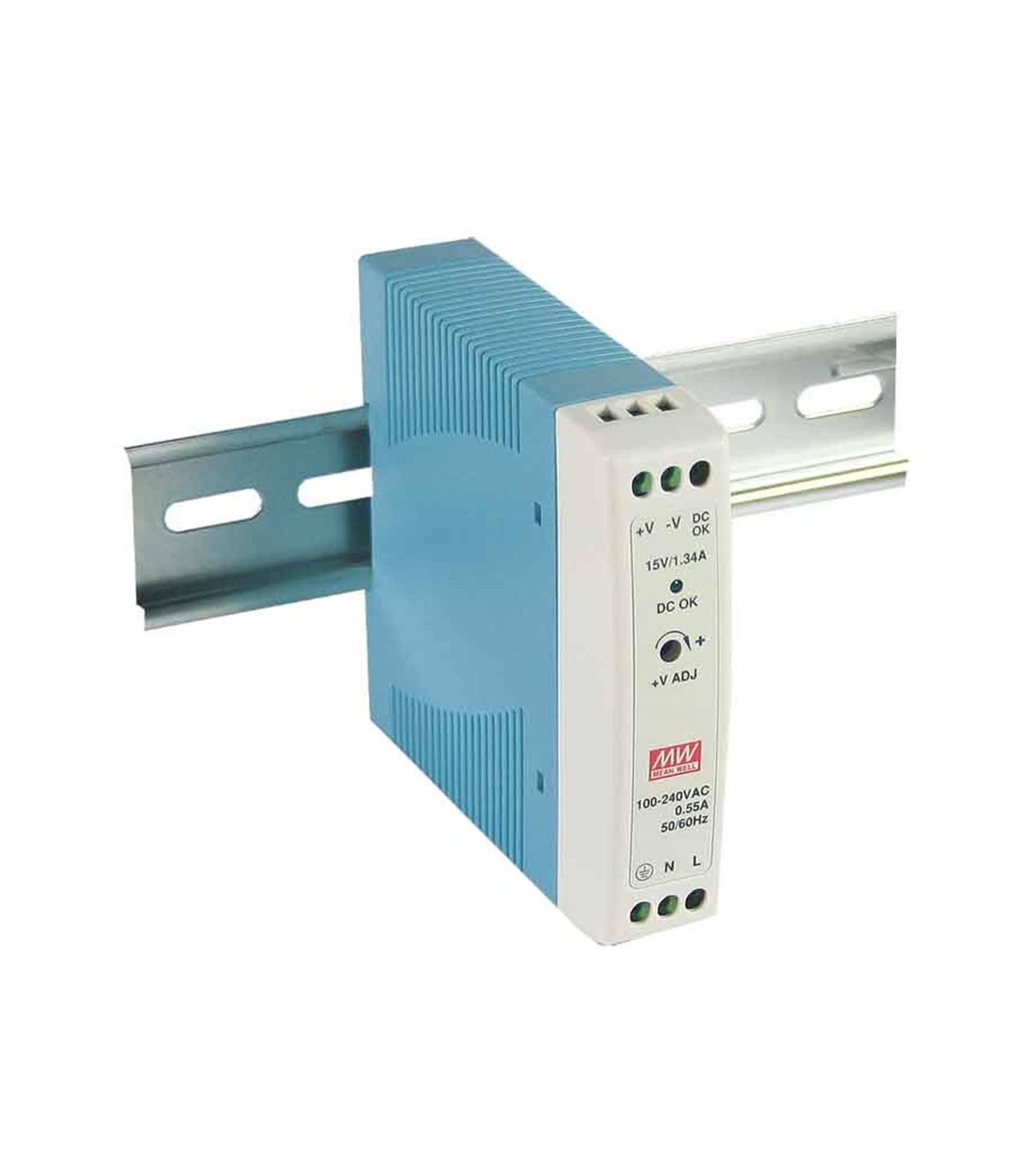 Mean Well Transformateur pour rail DIN armoire électrique 20Wà 12V DC MDR-20-12 MEAN WELL - MDR-20-12