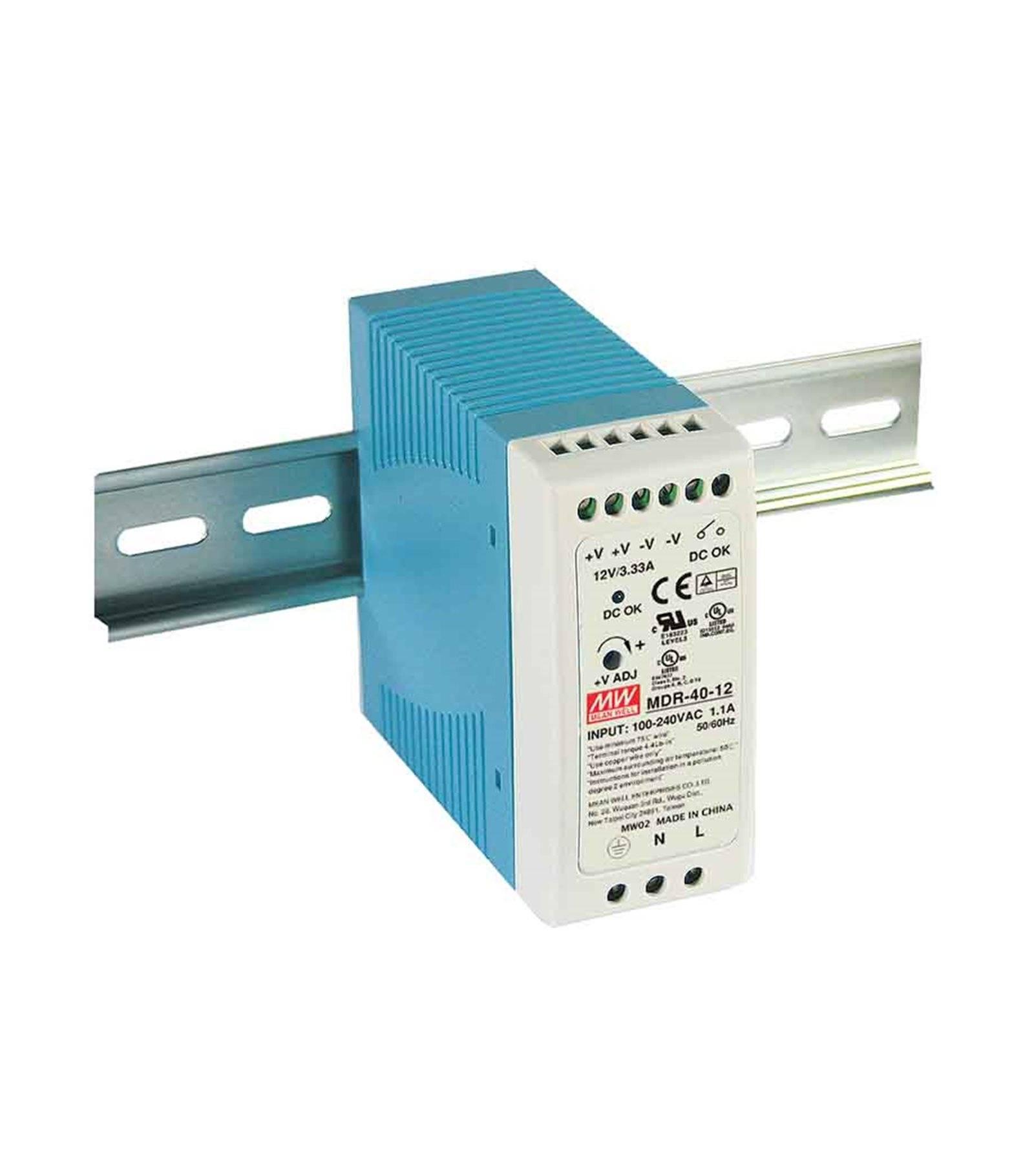 Mean Well Transformateur pour rail DIN armoire électrique 40Wà 12V DC MDR-40-12 MEAN WELL - MDR-40-12