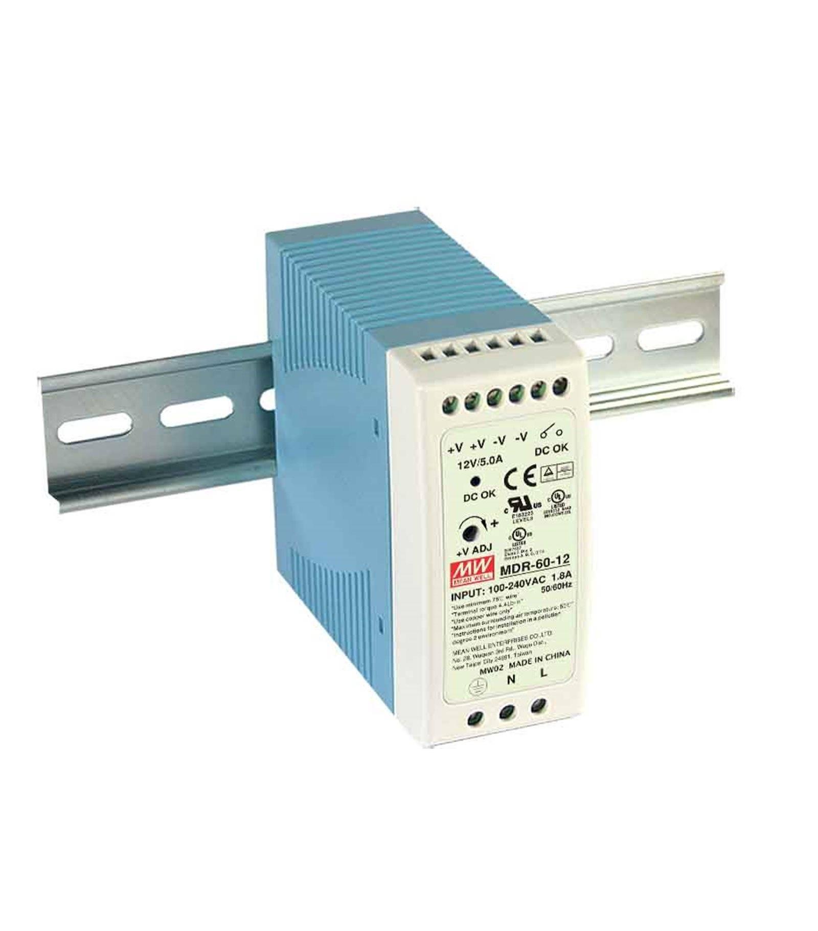 Mean Well Transformateur pour rail DIN armoire électrique 60Wà 12V DC MDR-60-12 MEAN WELL - MDR-60-12