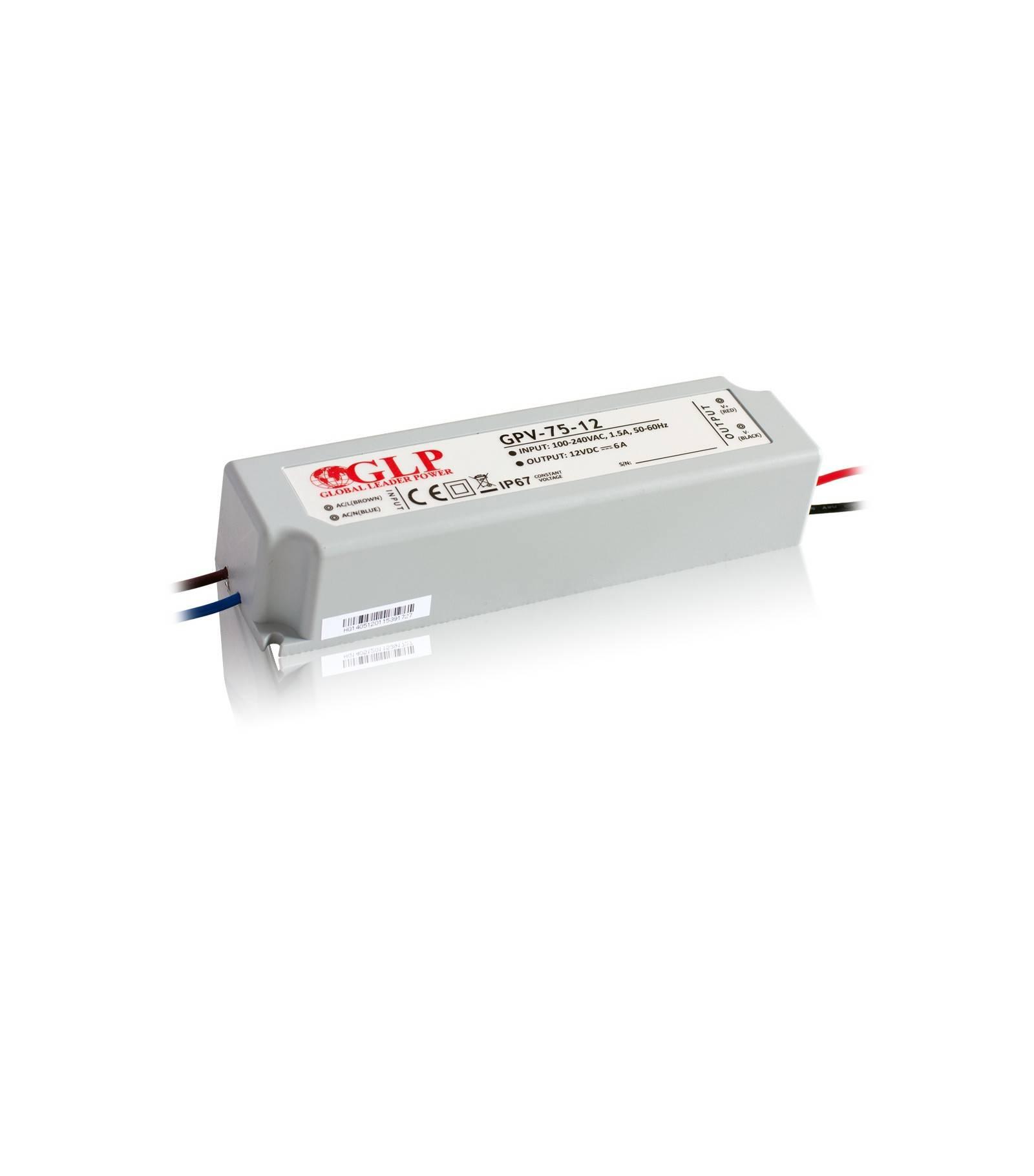 GLP Transformateur spécial Led 12V de 75W IP67 GLP - GLP-GPV-75-12