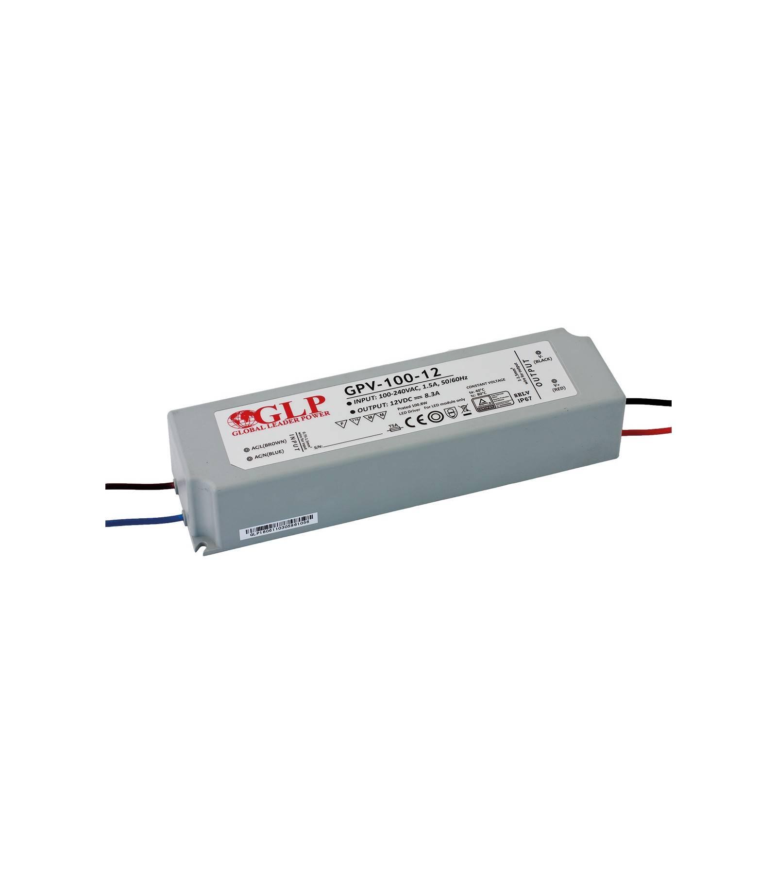 GLP Transformateur spécial Led 12V de 100W GPV-100-12 GLP - GLP-GPV-100-12
