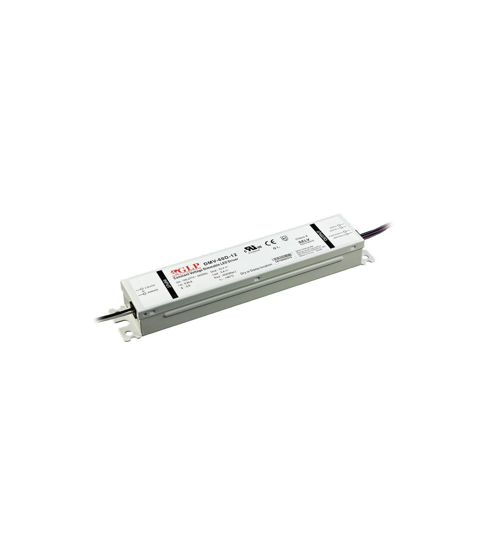 GLP Transformateur spécial Led 12V de 60W DIMMABLE Etanche IP54 DMV-60D GLP - GLP-DMV-60D