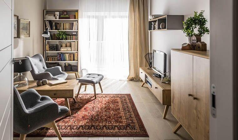 VOX Meuble TV scandinave 180 cm coloris chêne et blanc - Nature
