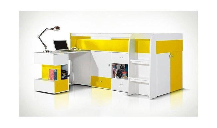 House and Garden Lit enfant mi-haut jaune avec bureau coulissant - Yello