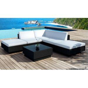 DELORM Salon jardin bas d'angle en résine tressée noire - Summer - Publicité