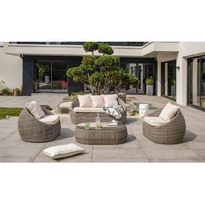 Garden Park Salon de jardin rond 5 places résine tressée grise - Isa - Publicité