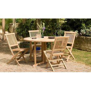 House and Garden TABLE DE JARDIN RONDE ET PLIANTE EN TECK 120 CM - DELHI - Publicité