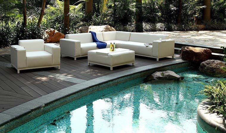 Garden Park Salon de jardin bas blanc crème luxe 6 / 8 places - Dubai