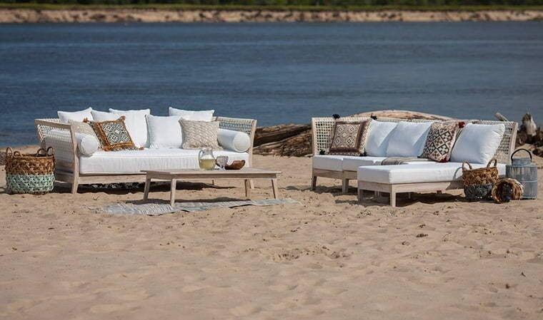 House and Garden Salon de jardin bas en teck blanchi de luxe - Tarida
