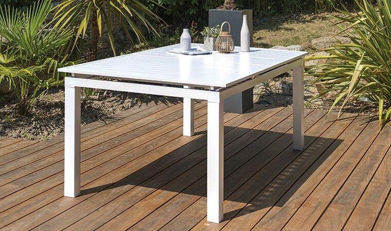 Garden Park Table jardin extensible 180/240 cm alu blanc - Mykonos